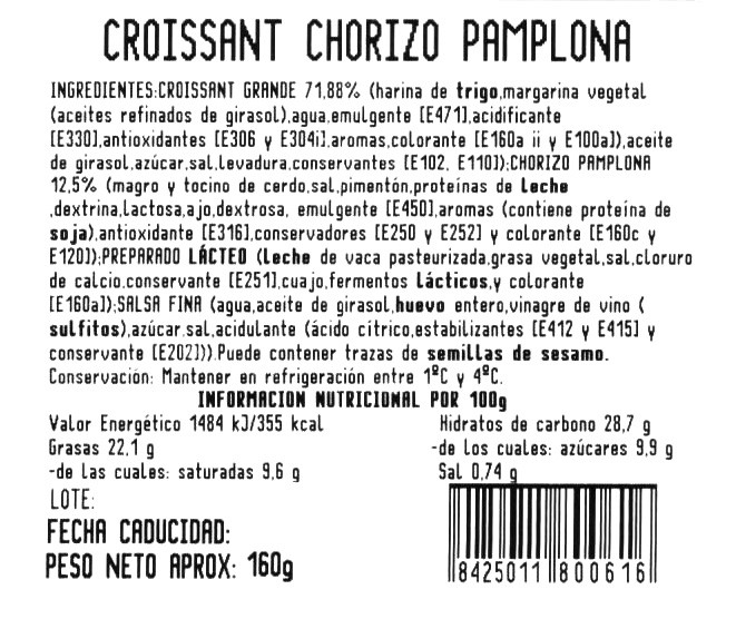 Croissant chorizo y queso