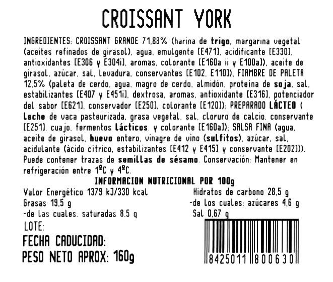 Croissant york y queso